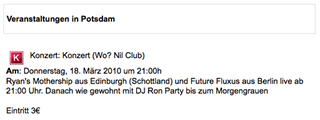 Future Fluxus, Nil Club, Potsdam